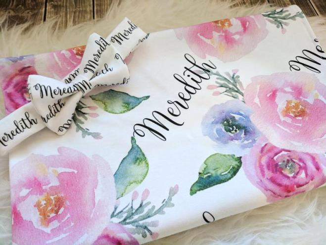 Watercolor Floral Personalized Swaddle Blanket