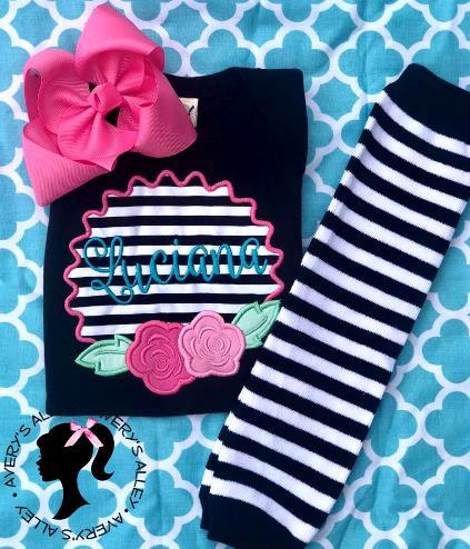 Personalized Flower Striped Bodysuit