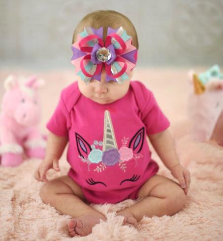 Hot Pink Floral Unicorn Bodysuit
