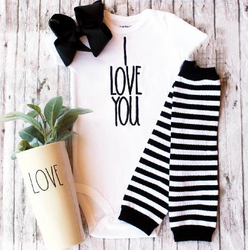 I love You Black & White Bodysuit