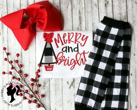 Merry & Bright Buffalo Plaid Christmas Bodysuit