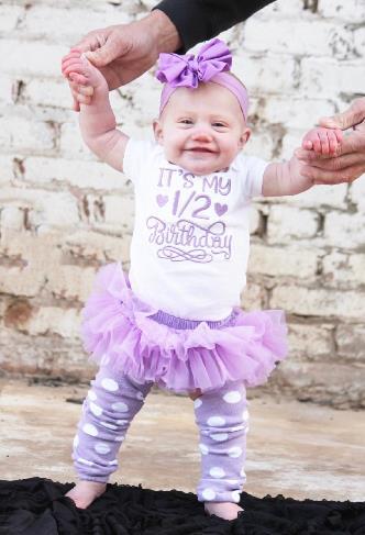 Lavender 1/2 Birthday Bodysuit