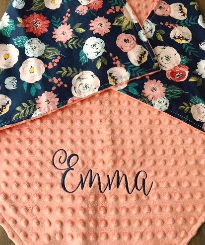 Floral Bouquet Personalized Baby Blanket