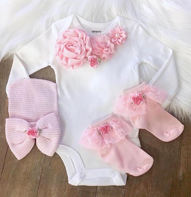 Newborn Girl Hospital Take Home Outfit with Hat & Socks