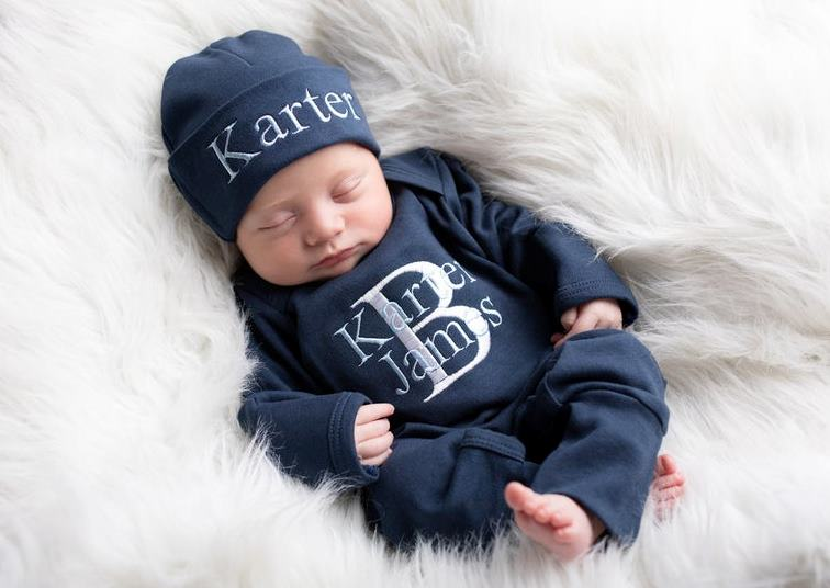 Boys Navy Blue Newborn Personalized Romper with Matching Hat