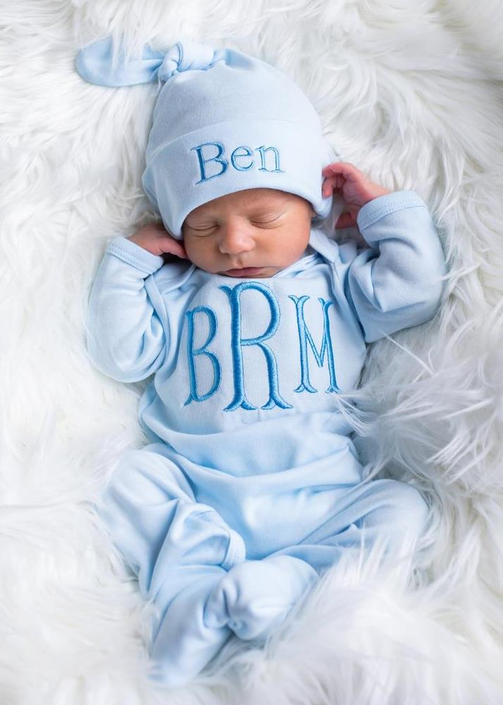 Boys Baby Blue Personalized Newborn Romper with Matching Tie Hat