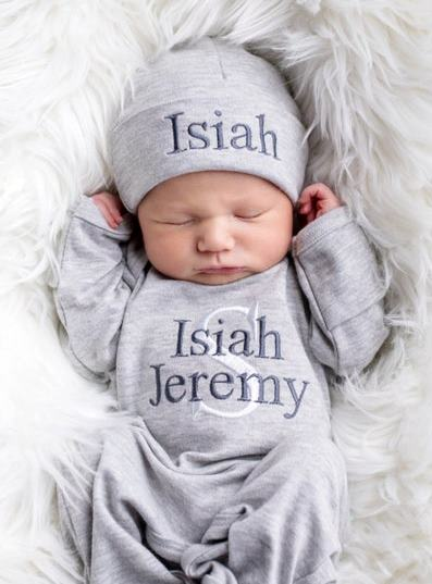 Boys Gray Personalized Newborn Romper with Matching Hat