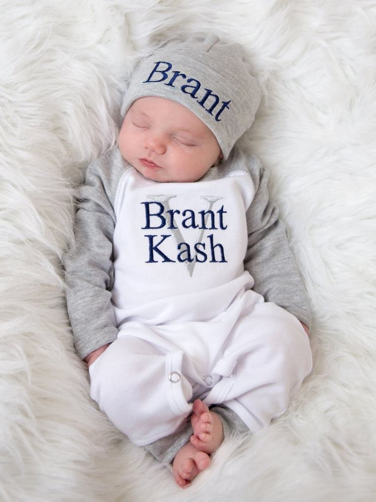 Boys Gray Raglan Newborn Personalized Romper with Matching Hat