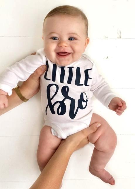 Baby Boys Navy & White Little Bro Bodysuit