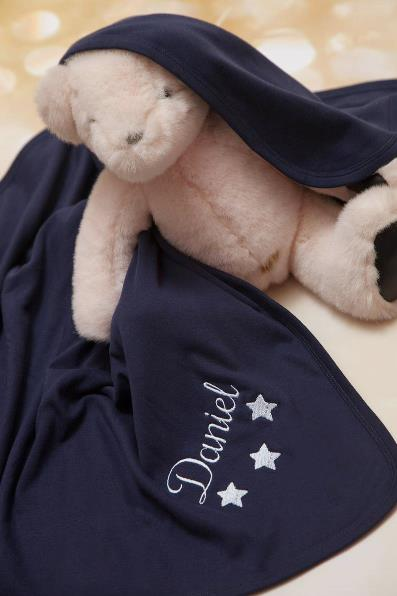 Boys Navy Blue Personalized Star Receiving Blanket