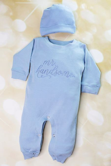 Baby Boys Mr. Handsome Romper with Matching Hat