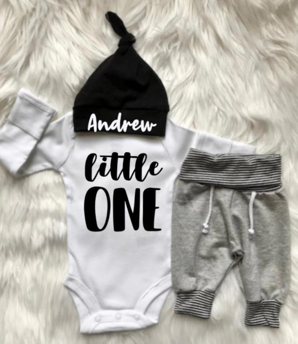 Newborn Boys Little One Jogger Outfit with Matching Hat