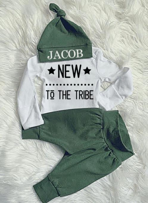Newborn Boys New to the Tribe Jogger Outfit with Matching Hat