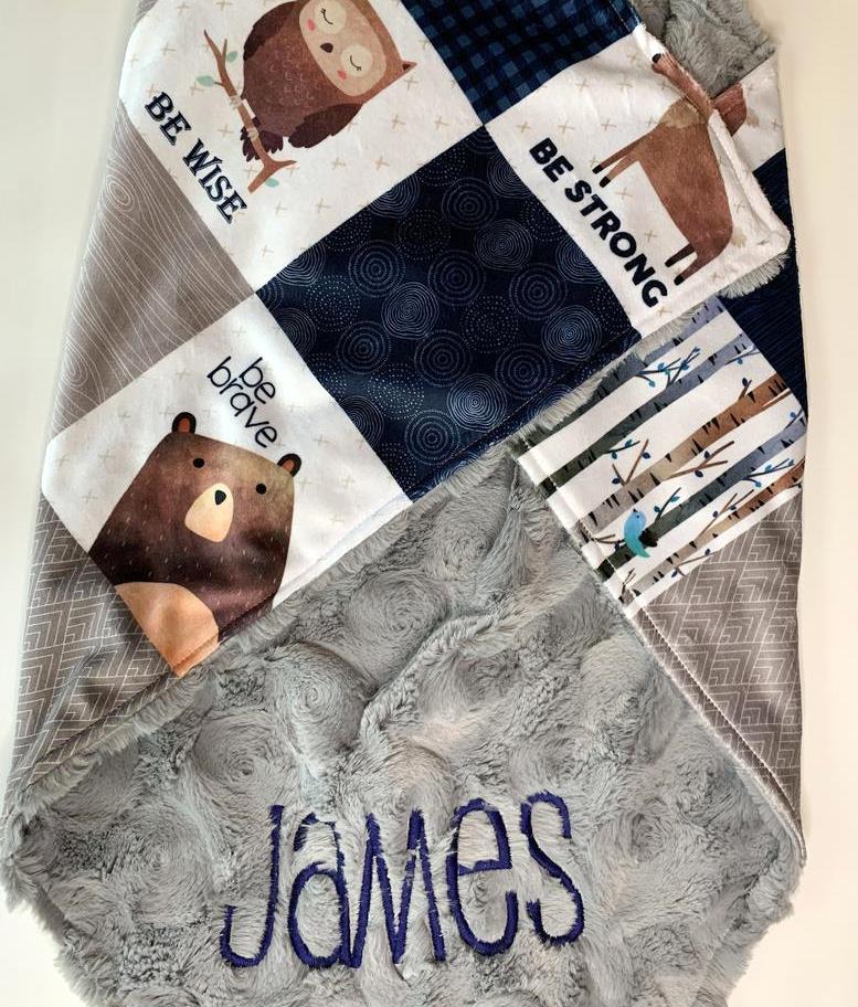 Baby Boys Woodland Animal Personalized Minky Blanket