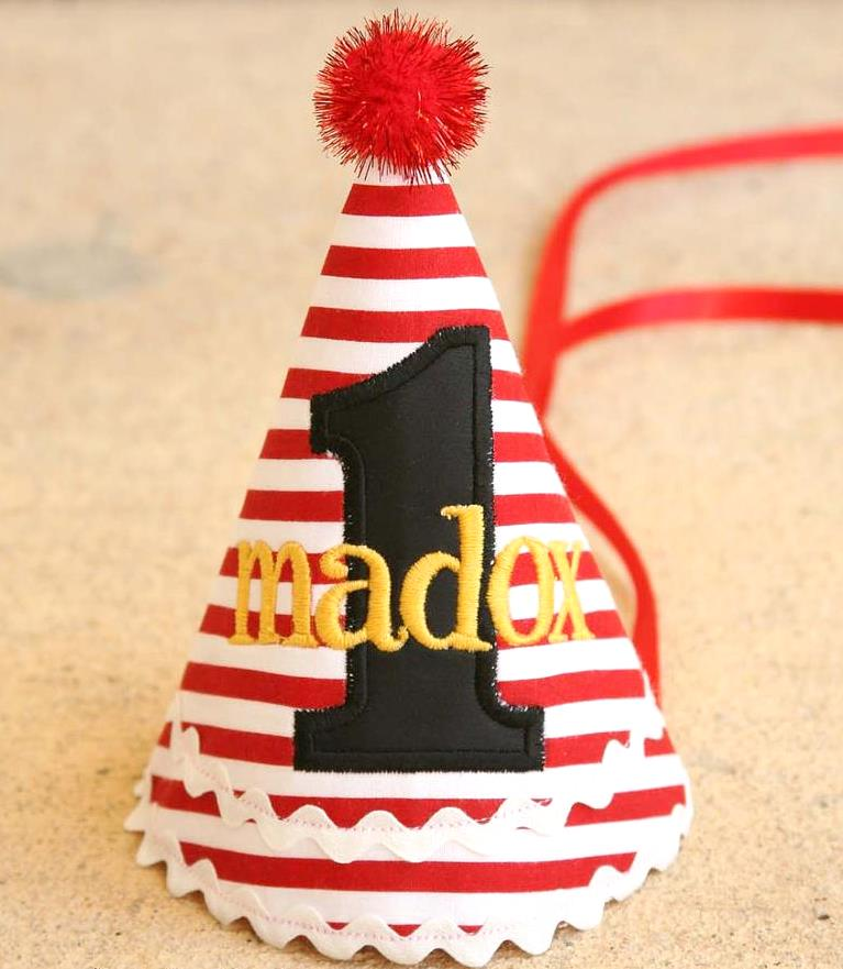 Baby Boys Red Pirate 1st Birthday Party Hat