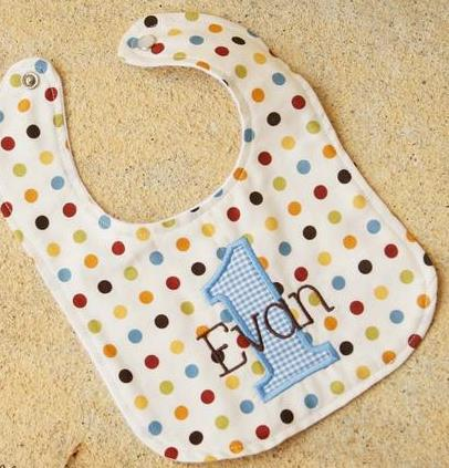 Baby Boy Personalized Gingham Dots 1st Birthday Bib