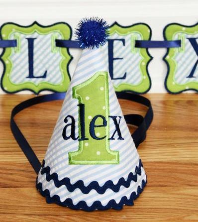 Blue & Green Baby Boys 1st Birthday Party Hat
