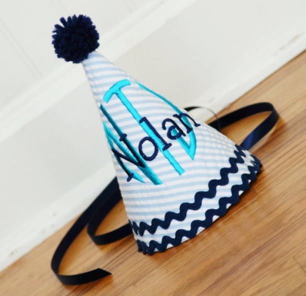 Boys Navy & Teal Personalized Birthday Hat