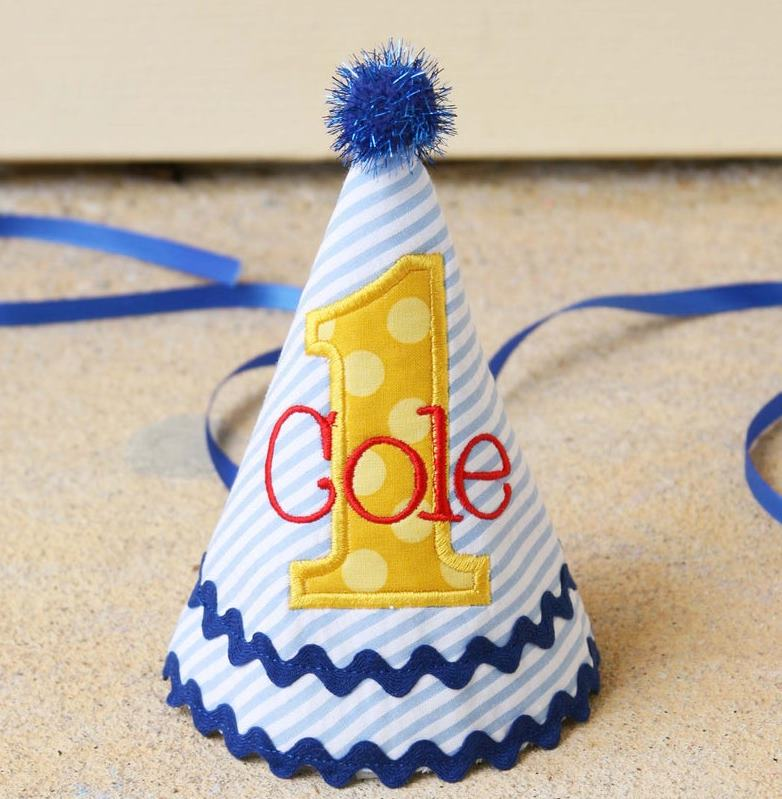 Blue Red & Yellow Personalized Boys 1st Birthday Hat
