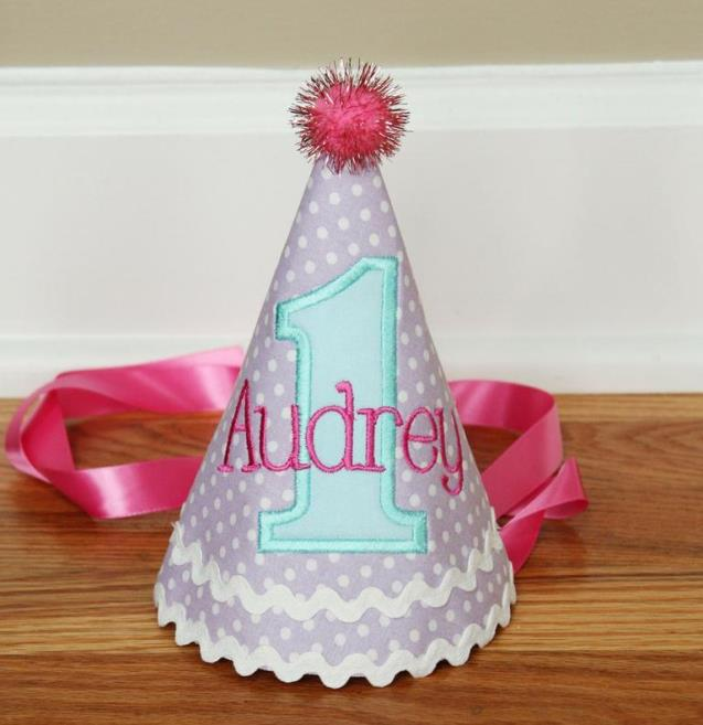 Lavender Aqua & Pink Personalized 1st Birthday Hat