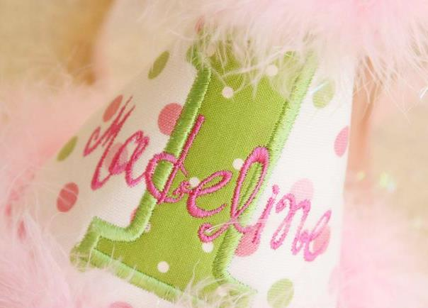 Pink & Green Polka Dot Personalized Sparkle Feather Birthday Hat