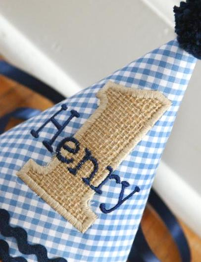 Blue Gingham & Burlap Baby Boys 1st Birthday Party Hat