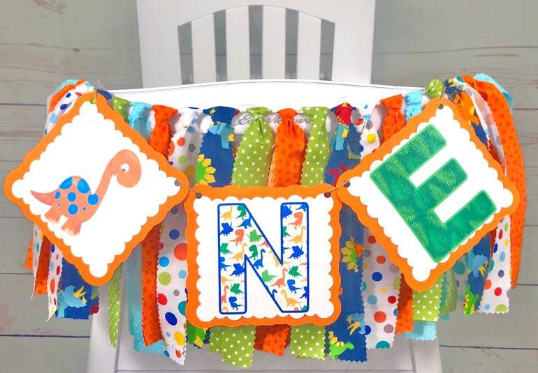 Baby Boys Orange Colorful Dinosaur 1st Birthday High Chair Banner
