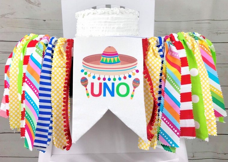 Baby Boys Colorful Fiesta 1st Birthday High Chair Banner