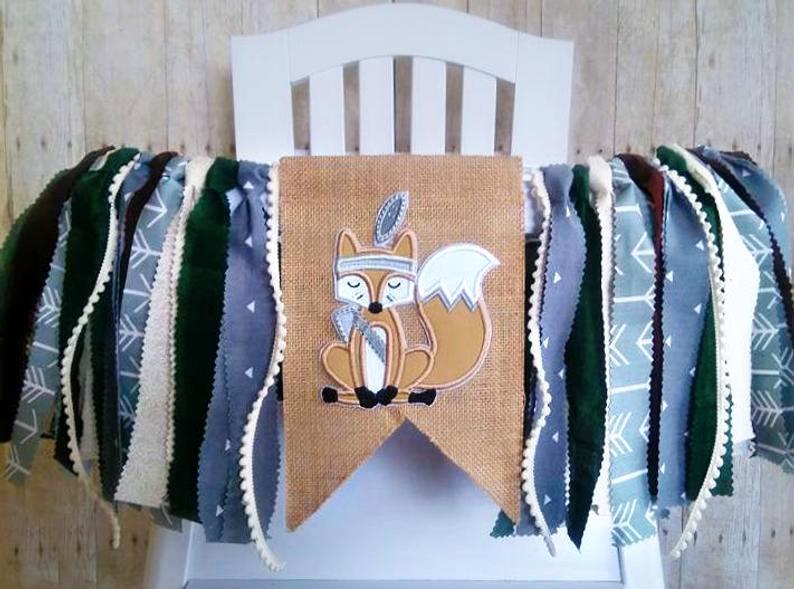 Baby Boys Grey Tribal Fox 1st Birthday High Chair Banner