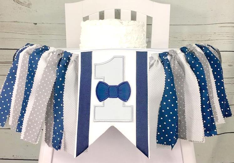 Baby Boys Grey Bowtie Suspenders 1st Birthday High Chair Banner