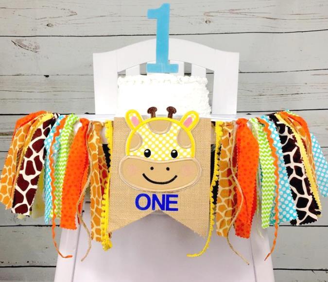 Giraffe Safari Boys 1st Birthday High Chair Banner