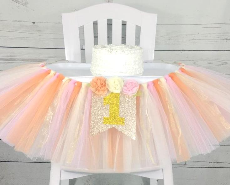 Peach Gold and Pink Floral 1st Birthday Banner