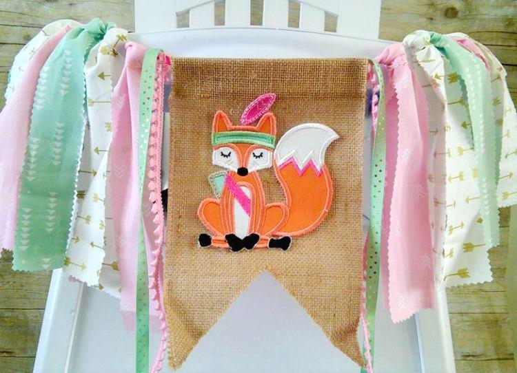 Tribal Fox Wild One First Birthday Banner