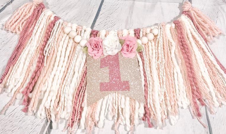 Rose Gold Beaded Tassel 1st Birthday Banner