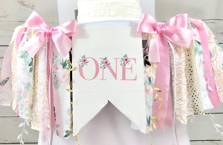 Miss ONEderful Pink Floral & Gold 1st Birthday High Chair Banner