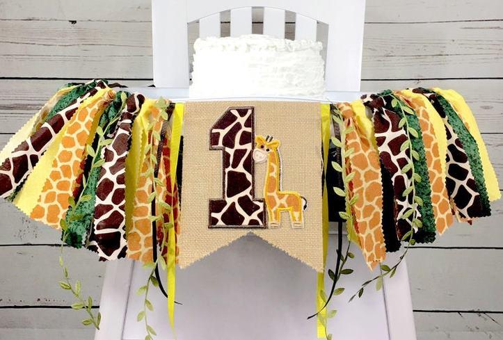 Giraffe Jungle Safari 1st Birthday High Chair Banner