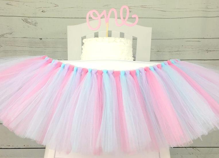 Sweet Pastels First Birthday High Chair Tutu Banner