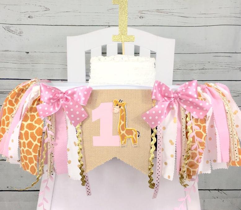 Girls 1st Birthday Safari Giraffe High Chair Banner