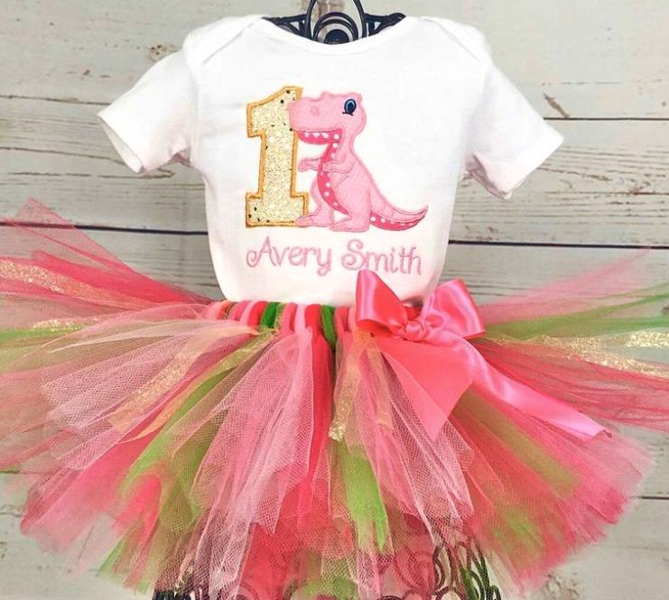 Hot Pink & Green Girls Personalized Dinosaur 1st Birthday Tutu Outfit