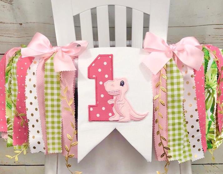 Hot Pink & Green Girls Dinosaur 1st Birthday Banner