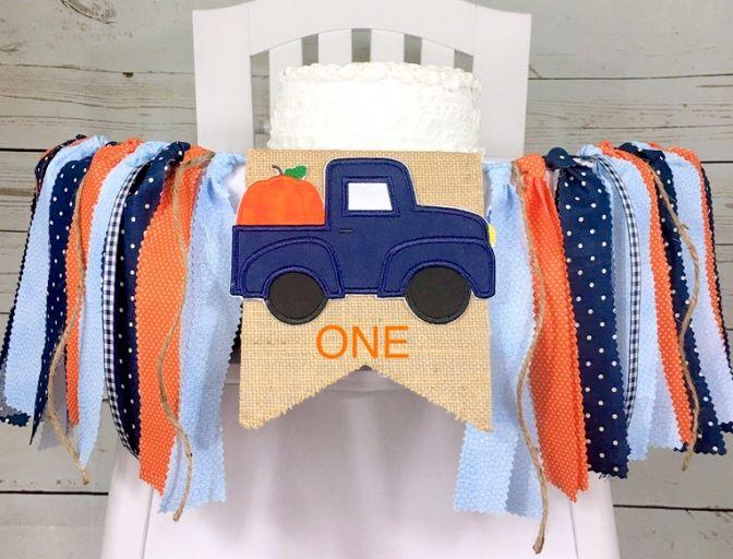 Boys Blue Pumpkin Truck Fall Birthday High Chair Banner