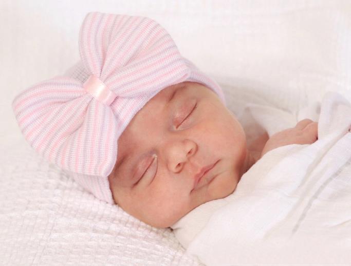 Lavender & Pink Striped Bow Newborn Boutique Hospital Hat