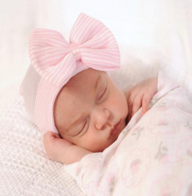 Pink and White Baby Girl Newborn Hospital Hat with Bow