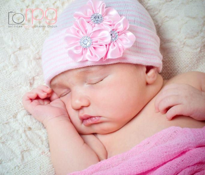 Pink Elegance Rhinestone Flower Newborn Boutique Hospital Hat