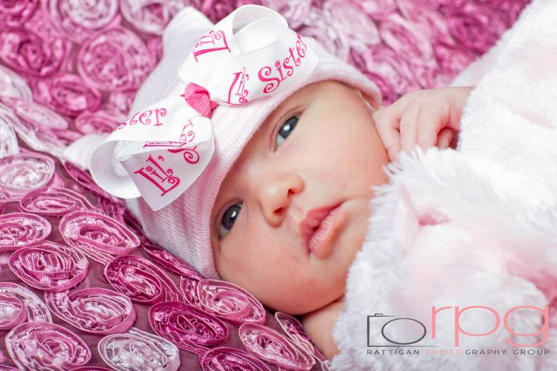 Little Sister First Bow Newborn Boutique Hospital Hat