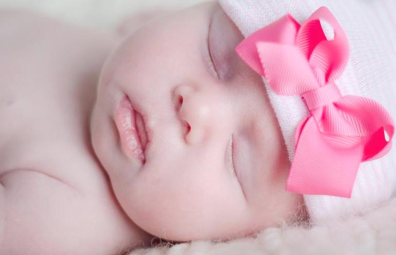 Her First Bow Hot Pink Newborn Boutique Hospital Hat