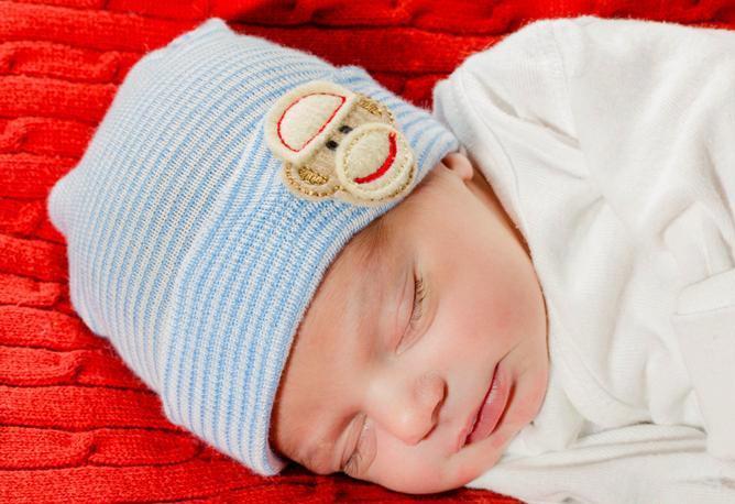 Baby Boys Sock Monkey Newborn Hospital Hat