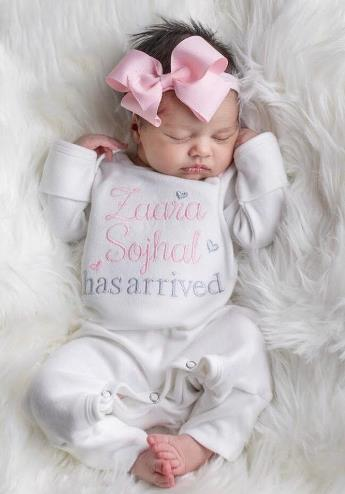 Just Arrived Personalized Newborn Romper with Matching Headband