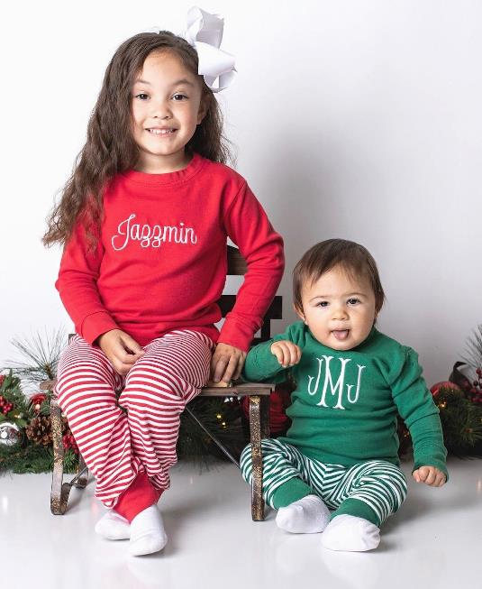 Personalized Striped Christmas Pajamas