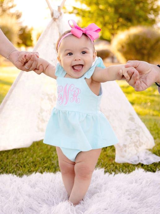 Aqua & Hot Pink Personalized Flutter Strap Summer Dress